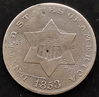 1853 Three Cent Piece Silver Trime 3c mid grade 4866