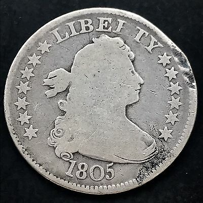 1805 Draped Bust Quarter 25c very old, nice coin VG Details dmg. 4573