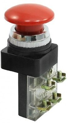 AC 250V 6A Red Mushroom Button Momentary Pushbutton Switch DPST NO NC