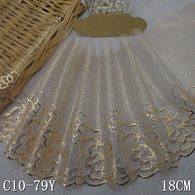 """1Yard  Elegant Glamorous Delicate Embroidered Tulle  Lace Trim Gold 7"""" Wide"""