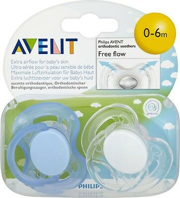 Philips Avent SCF178/23 2-Pack Free Flow Orthodontic Soother 0-6m - Boy Color