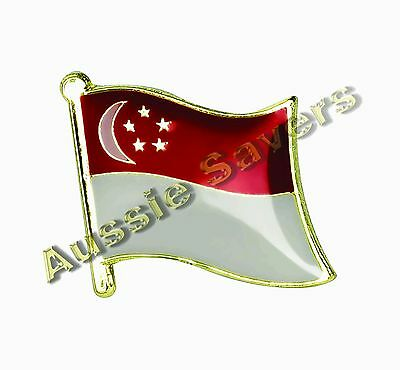 Singapore Flag Hat Pin / Badge - Brand New
