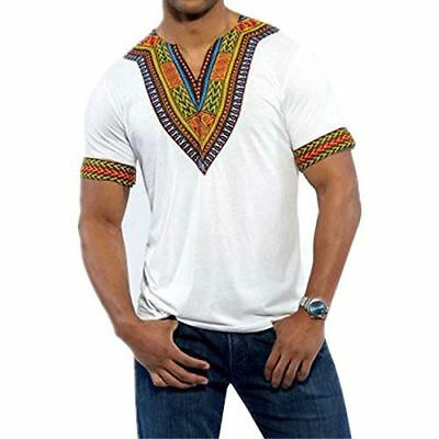 Men's African Print Dashiki T-Shirt Top