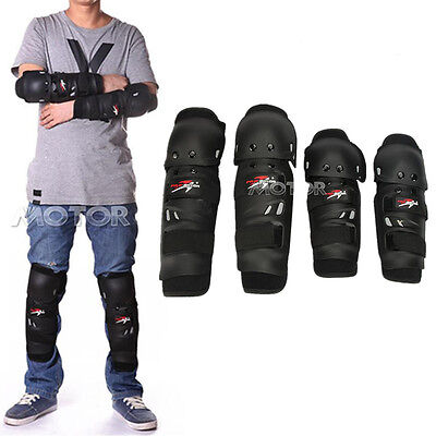 Motorcycle Racing Black Knee/Shin Guard + Elbow Guard Pads Protection Set