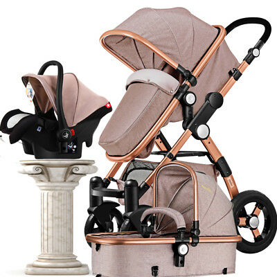 Luxury Baby Stroller 3 in 1 High Landscape Pram foldable pushchair with Car Seat