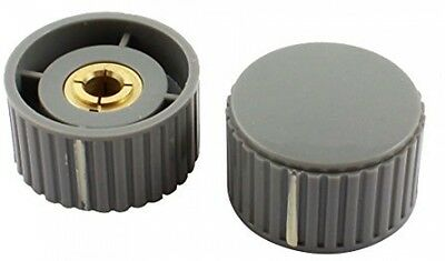 2Pcs 32mm Gray Plastic Rotary Potentiometer Knob Cap For 6mm Dia Shaft