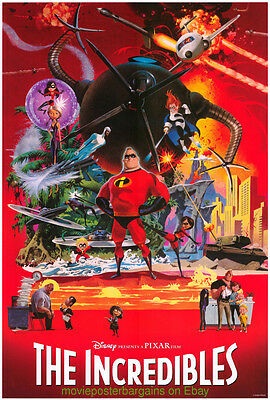 THE INCREDIBLES MOVIE POSTER 27x40 HYPER ULTRA RARE STYLE DISNEY PIXAR ANIMATION
