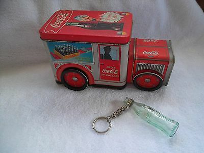 COCA-COLA METAL TRUCK AND A  KEY CHAIN(Glass)