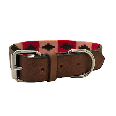 Hand Made Leather Dog Collar Embroided Polo Argentina Large Labrador Argentinian