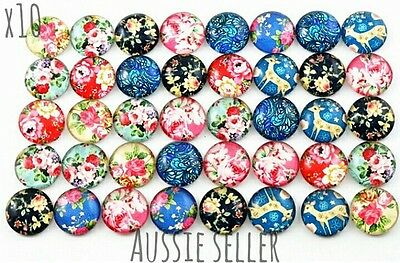 x10 Floral Deer Print Cameo Cabochon Glass Domes Pendant Studs Jewellery Round
