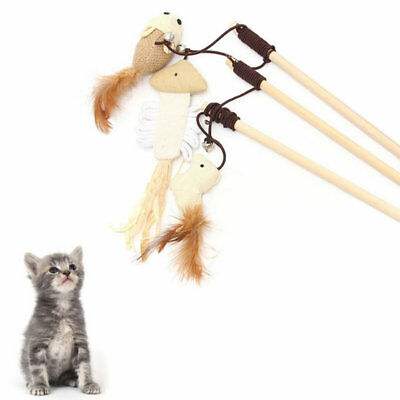 Funny Kitten Play Interaction Toy Cat Teaser Wand Assorted Linen Mouse Toy S4W