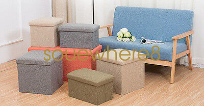 Double Foldable Ottoman Storage Seat Folding Stool Box Chair Container Linen UK