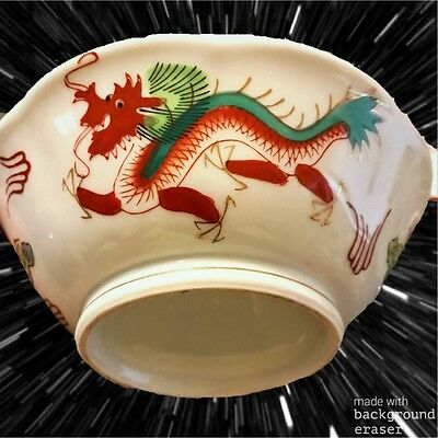 Set of 8 Antique Chinese RED DRAGON RICE Soup bowls Handpainted ~RARE~