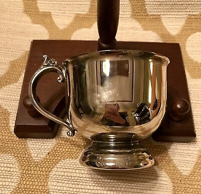 SILVER PLATED Child's PEDESTAL CUP WITH ORNATE HANDLE~ INDONESIA