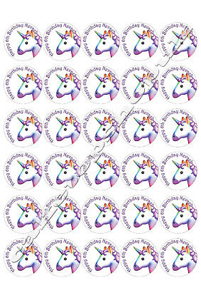 30  Personalised Unicorn Cake Toppers 40mm Premium rice paper