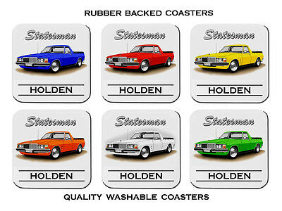 Holden   Wb  Hz Hx  Statesman   Ute   Set Of  6   Rubber Drink  Coasters