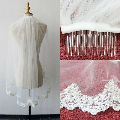 New 1T White/Ivory Wedding Bridal Veil With Comb Fingertip Tulle Lace Edge Stock