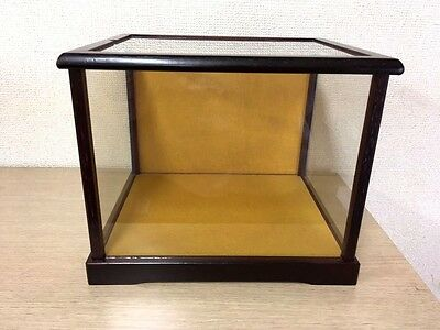 Vintage glass case display case showcase doll wooden old case made in Japan