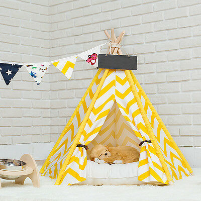 Little Dove Chevron Style 100%  cotton canvas dog cat pet teepee without cushion