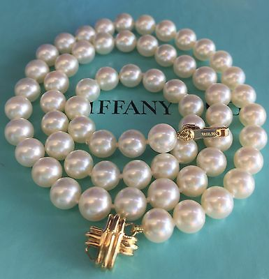 STUNNING SIGNATURE TIFFANY & CO PEARL NECKLACE 18K YGLD DOUBLE SIDE CLASP+Certif