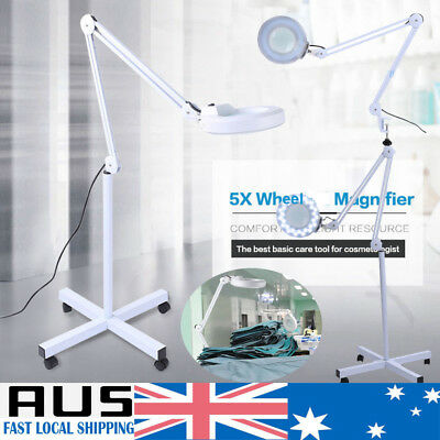 5X Magnifying Lamp LED 5 inch Glass Lens Magnifier Wheel Stand Desk Clamp light