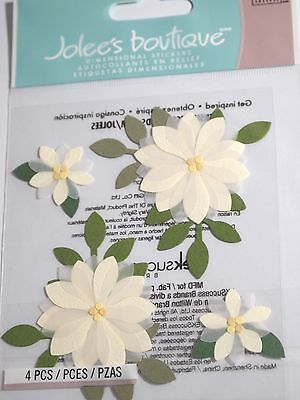 JOLEE'S BOUTIQUE VANILLA FLOWERS Floral Craft Scrapbook Sticker Embellishment