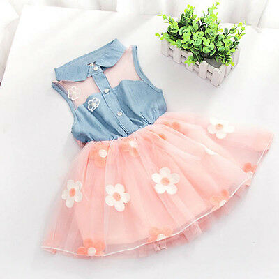 AU Flower Girls Kids Baby Princess Dress Party Pageant Wedding Tutu Dresses 2-7Y