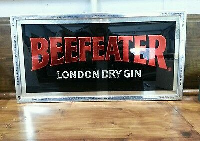 "Vintage N.o.s. ""beefeater London Dry Gin"" Advertising Bar Mirror."