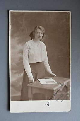 R&L Postcard: Portrait of Unknown Edwardian Lady, School Teacher? Sheffield