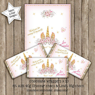 Magical Floral Gold Unicorn Birthday Party Personalised Chocolate Wrappers X 10