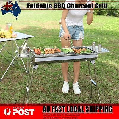 Foldable BBQ Charcoal Grill Folding Barbecue Camping Picnic Stainless Steel AU
