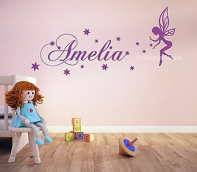 Fairy Girls Personalised Any Name Wall Art Mural Decal Sticker
