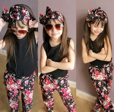 USA Fashion Toddler Kids Girls Sleeveless Tops Pants Floral Outfits Set Clothes