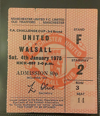 1974 - 75 Manchester United Vs Walsall  Match Ticket - 3Rd Round F.a.cup
