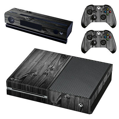 XBox One Console Skin Sticker Protector New Dark Wood + 2 Controllers