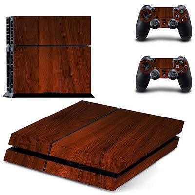 Sony PS4 Playstation 4 Console Skin Sticker New Dark Wood + 2 Controllers