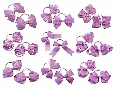 Lilac grosgrain ribbon hair bows on thin bobbles or clips, toddler accessories