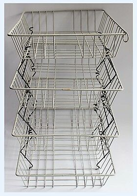 Vintage 70 80's Beanstalk Extending Wire Tray Shelving Office Filing Desk Stack
