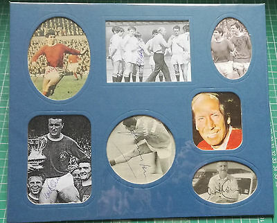 MANCHESTER UNITED SIGNED COLLECTION OF LEGENDS 1960's x 7 PLAYERS - MOUNTED