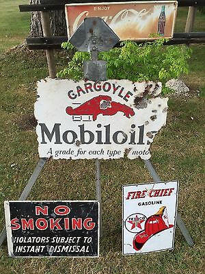 RARE VINTAGE MOBILOIL GARGOYLE PORCELAIN SIGN 2 SIDED 1920'S awesome rough patin