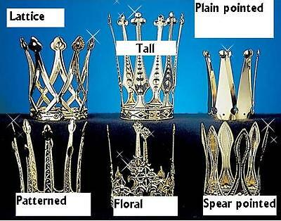 Mini crown gold aluminium queen decorative regal snow hearts fancydress item