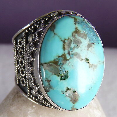 US 9 1/2 ~ SILVERSARI Granulation Ring ~ 925 Sterling Silver & NATURAL TURQUOISE