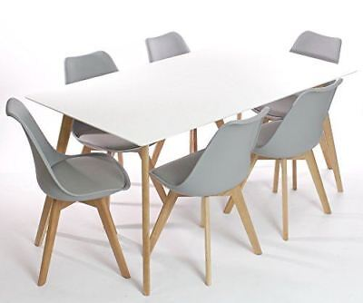 Set of 6 Modern Dining Chairs Mmilo Tulip Pyramid Dining Set