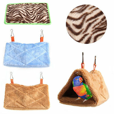 Pet Bird Parrot Plush Hammock Warm Hanging Cage Cave Bed Soft Hut Tent Bunk Pad