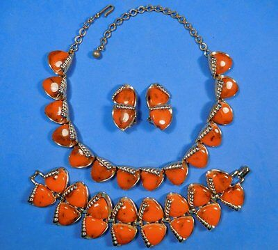Art Deco Marbled ORANGE BAKELITE Necklace Bracelet Earrings CHAREL Thermoset Set