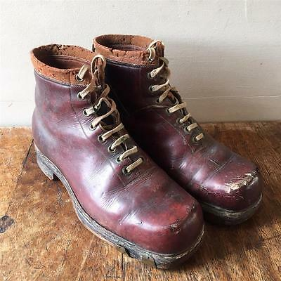 Vintage Men's 1940s/50s Leather Lace Up Hobnail Ski Military Work Boots UK10