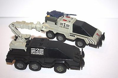 vintage 1980's STAR EXPLORER 6WD FRICTION SPACE CAR VEHICLE LOT OF 2