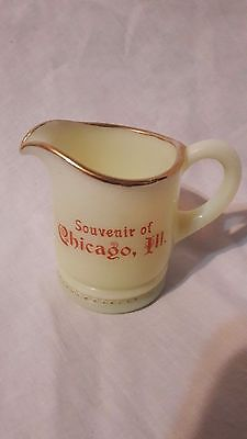 "Vintage Custard Glass 3"" x 3"" Miniature Pitcher Souvenir of Chicago, Illinois"