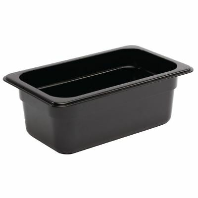 Vogue Black Polycarbonate 1/4 Gastronorm Container Kitchen Food Storage