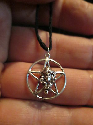 Sterling Silver Pagan Goddess Pentagram Pendant w/ black Hemp cord Necklace 23mm
